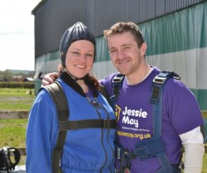 Person skydiving for Jessie May