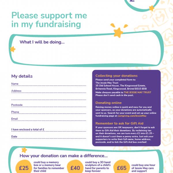Jessie May sponsorship form
