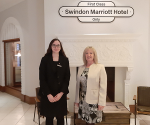 Debbie Clarke, Swindon Fundraiser collecting a cheque from Swindon Marriott Hotel