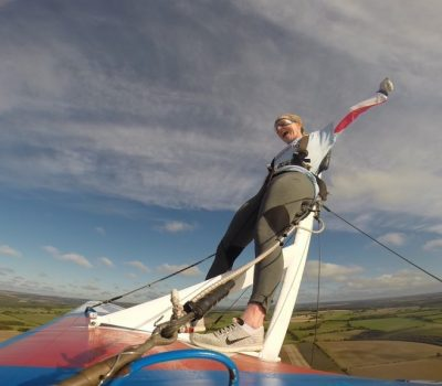 Person wing-walking for charity